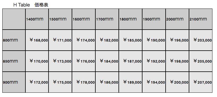 H Table価格表